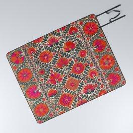 Kermina Suzani Uzbekistan Colorful Embroidery Print Picnic Blanket