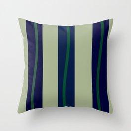 Three Blue Stripes Three Green Waves Throw Pillow