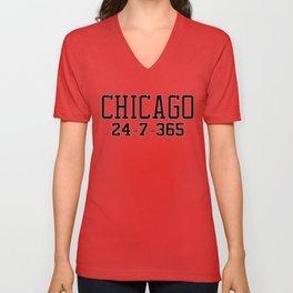 Chicago 24-7-365 Shirt For Chicago Basketball Fans Unisex V-Neck
