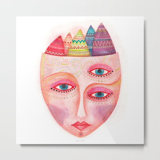 girl with the most beautiful eyes mask portrait Metal Print