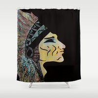 native american Shower Curtains featuring Native by Red Dust