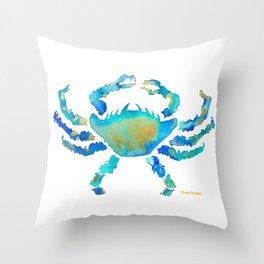 Craggy Blue Crab Throw Pillow