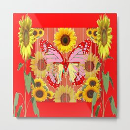 ABSTRACT  RED BUTTERFLY  SUNFLOWER FLORAL GARDEN Metal Print