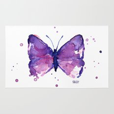 Butterfly Purple Watercolor Animal Rug