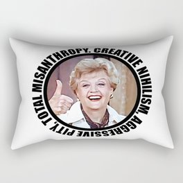 Nihilistic quotes by Jessica Fletcher: Creative Nihilism, Aggressive Pity, Total Misantropy Rectangular Pillow