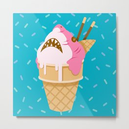 Sharks and Icecream Metal Print