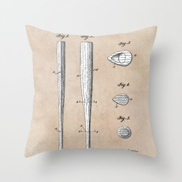patent Taylor Streamlined baseball bat or the like 1938 Throw Pillow