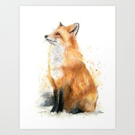 Fox Watercolor Red Fox Painting Art Print