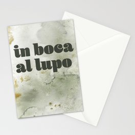 in boca al lupo Stationery Cards