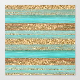 Turquoise Brown Faux Gold Glitter Stripes Pattern Canvas Print