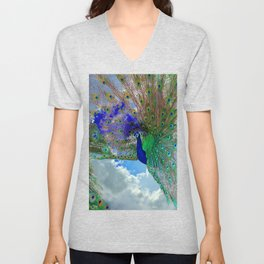 Peacocks in Clouds Unisex V-Neck