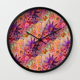 PINK PURPLE PASSION PUNK A FUNKY FLORAL seamless design Wall Clock