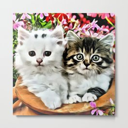 TWO CUDDLY KITTENS Metal Print