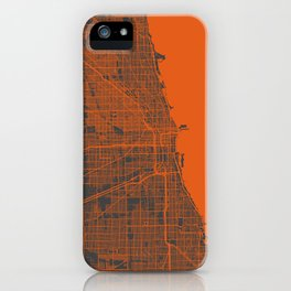 Chicago map orange iPhone Case