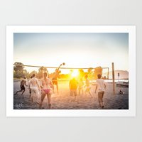 volleyball Art Prints featuring Beach Volleyball by MJ Blanchet