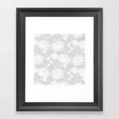 White Floral Poms Framed Art Print