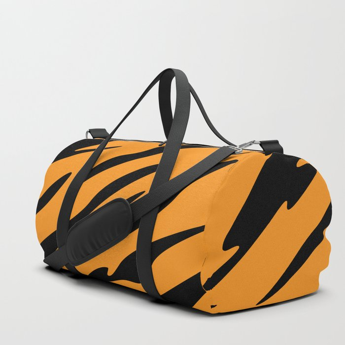 Bold and Beautiful Black and Orange Abstract Tiger Striped Pattern Duffle Bag