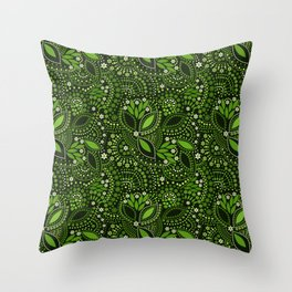 Scattering beads, green Throw Pillow
