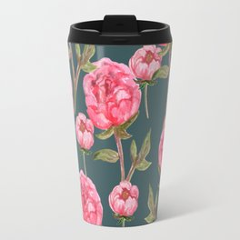 Pink Peonies On Green Background Travel Mug
