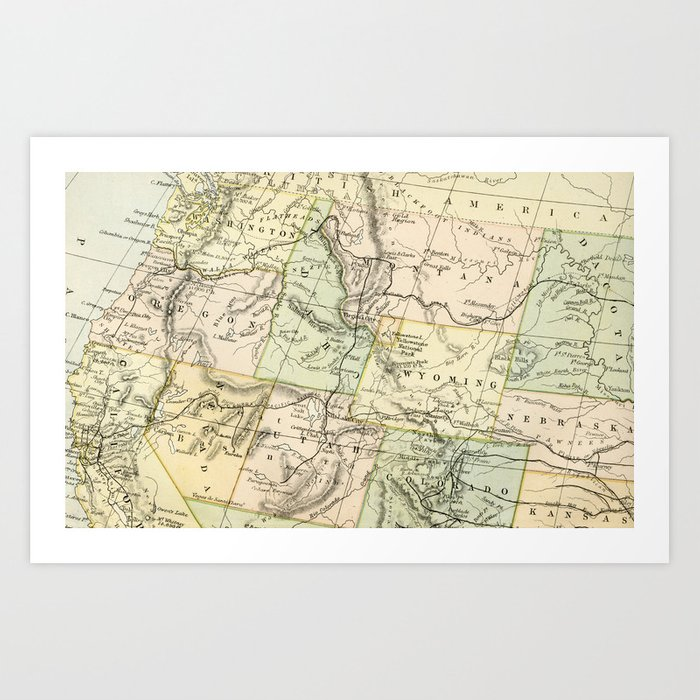 Vintage Map Of The West Of The United States Art Print By Graphikz