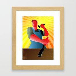 Carpenter Striking Hammer Chisel Poster Retro Framed Art Print