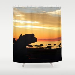 Silhouettes by the Sea at Sunset Shower Curtain