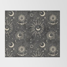 Sun and moon astrology pattern Throw Blanket