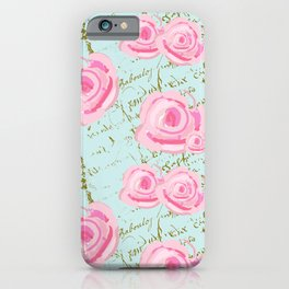 Pink  Roes and French Script iPhone Case