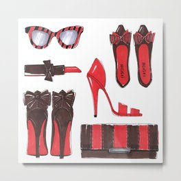 Fashion accessories, shoes, bag, glasses, lipstick. Metal Print