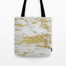 Marble - Glittery Gold Marble on White Design Tote Bag