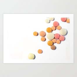 Drugs in the form of drugs on white background Art Print