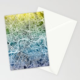 London England Street Map Stationery Cards