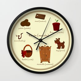 Colors: brown (Los colores: marrón) Wall Clock