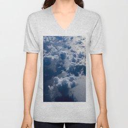 High Altitude Clouds Over Ocean Blue Fluffy Clouds Unisex V-Neck