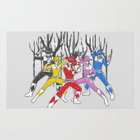 power rangers Area & Throw Rugs featuring Mighty Morphing Lone Rangers by Jonah Makes Artstuff