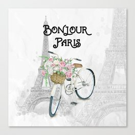 Vintage Bicycle Bonjour Paris Canvas Print