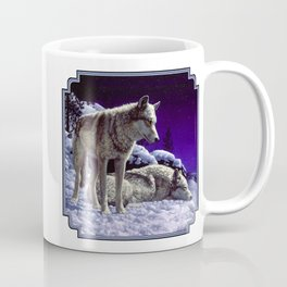 Night Watch Wolves in Snow Coffee Mug