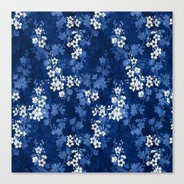 Sakura blossom in deep blue Canvas Print