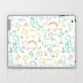 Colorful dinosaur pattern on white Laptop & iPad Skin
