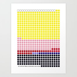 Girl with Hair Ribbon (Roy Lichtenstein) color-sorted Art Print