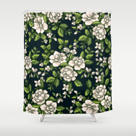 Pixel Floral White On Black Shower Curtain By Kelly Knowles Society6