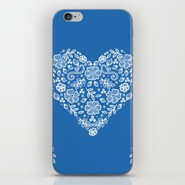 Azure Strong Blue Heart Lace Flowers iPhone Skin