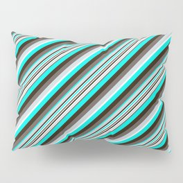 Blue Brown Black Inclined Stripes Pillow Sham