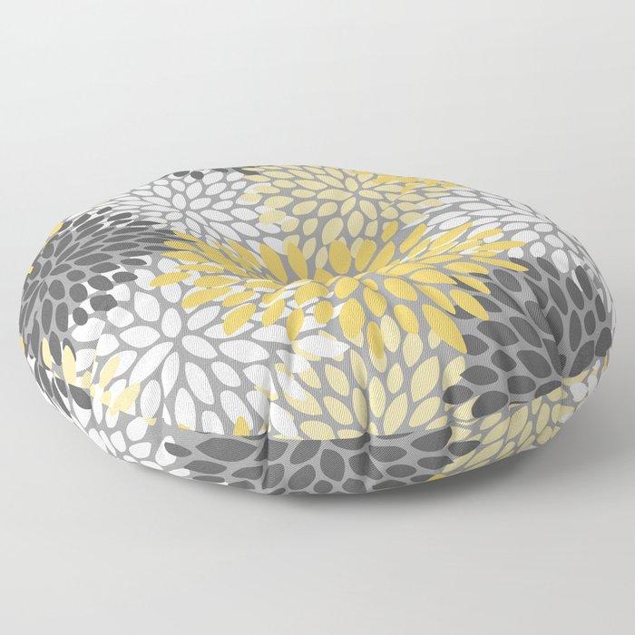 Modern Elegant Chic Floral Pattern, Soft Yellow, Gray, White Floor Pillow