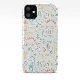 Colorful dinosaur pattern on white iPhone Case