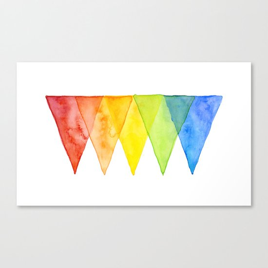 Geometric Watercolor Shapes Triangles Pattern Canvas Print