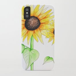 Sunflower Watercolor & ink iPhone Case