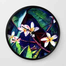 Blooming Plumeria Wall Clock