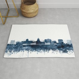 Madison Skyline Watercolor Navy Blue by Zouzounio Art Rug