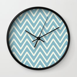 Chevron Wave Blue Petit Four and Glass Green Wall Clock